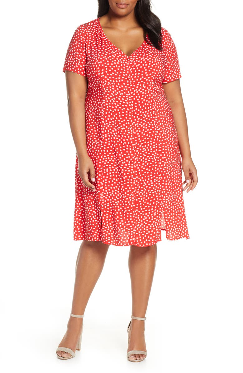 ESTELLE Adeline Polka Dot Empire Waist Dress, Main, color, RED/ MILK
