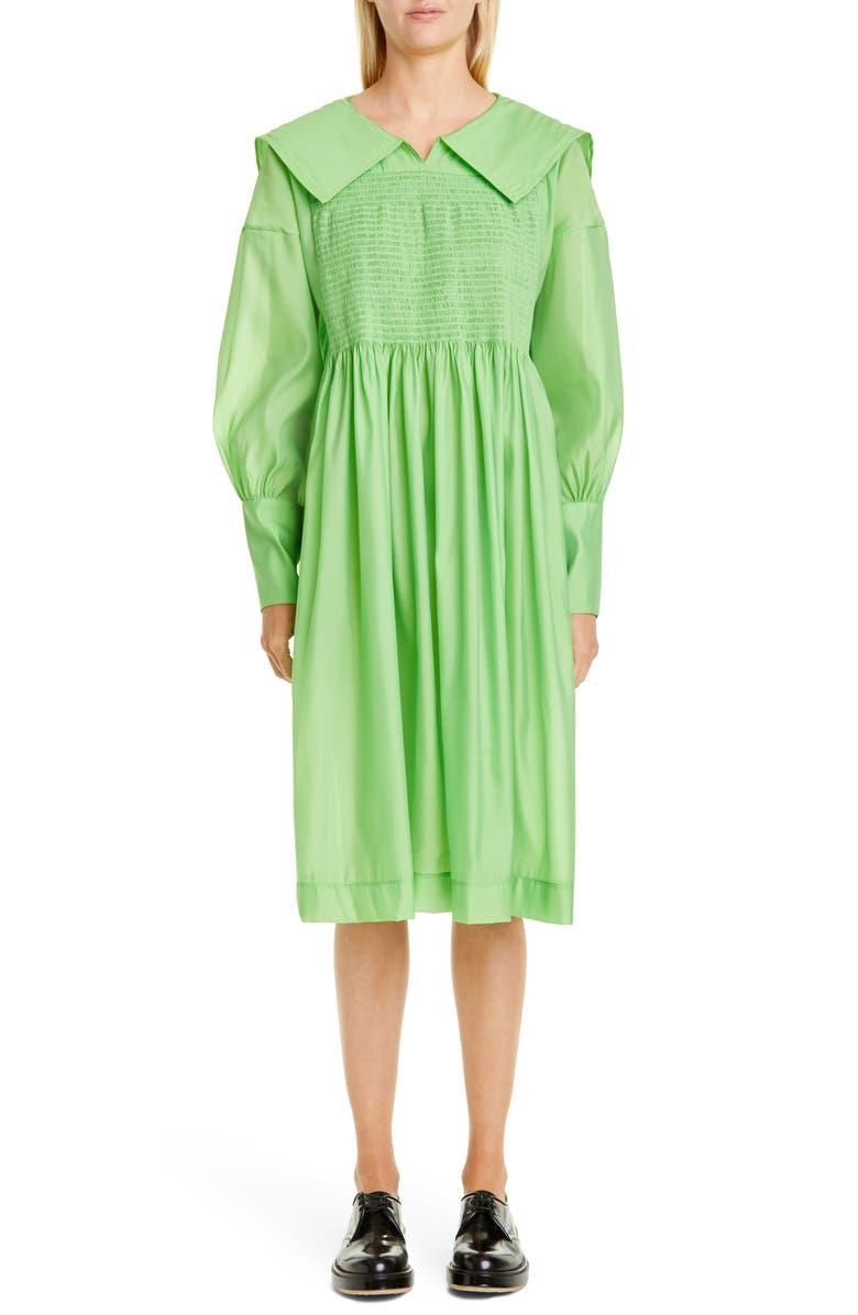 MOLLY GODDARD Robert Midi Dress, Main, color, GREEN