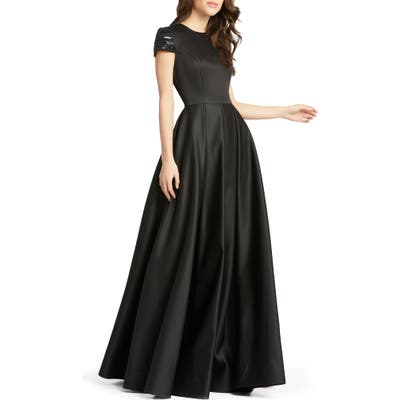 MAC Duggal Beaded Cap Sleeve Satin Ballgown, Black