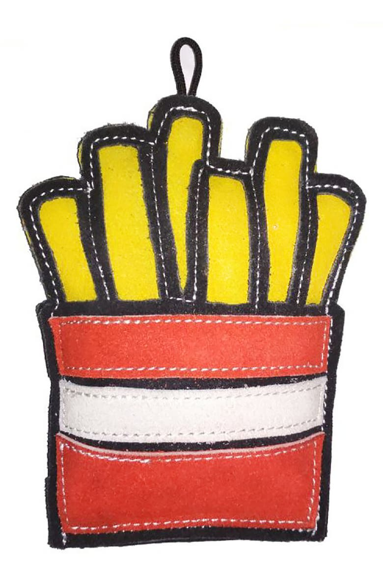 LOVETHYBEAST Fries Suede Dog Toy, Main, color, YELLOW/RED