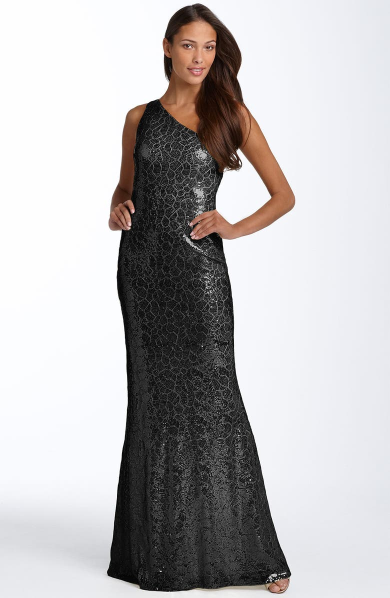 JS BOUTIQUE One Shoulder Sequin Gown, Main, color, 001