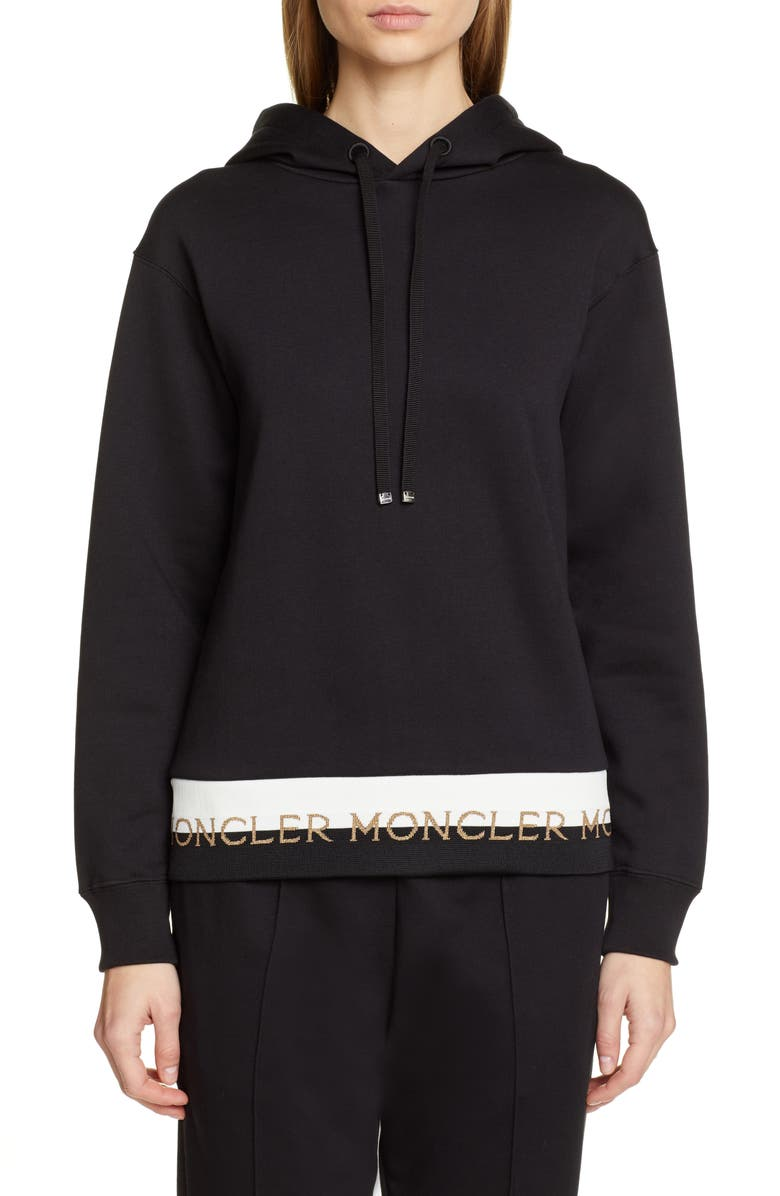 MONCLER Logo Hoodie, Main, color, BLACK