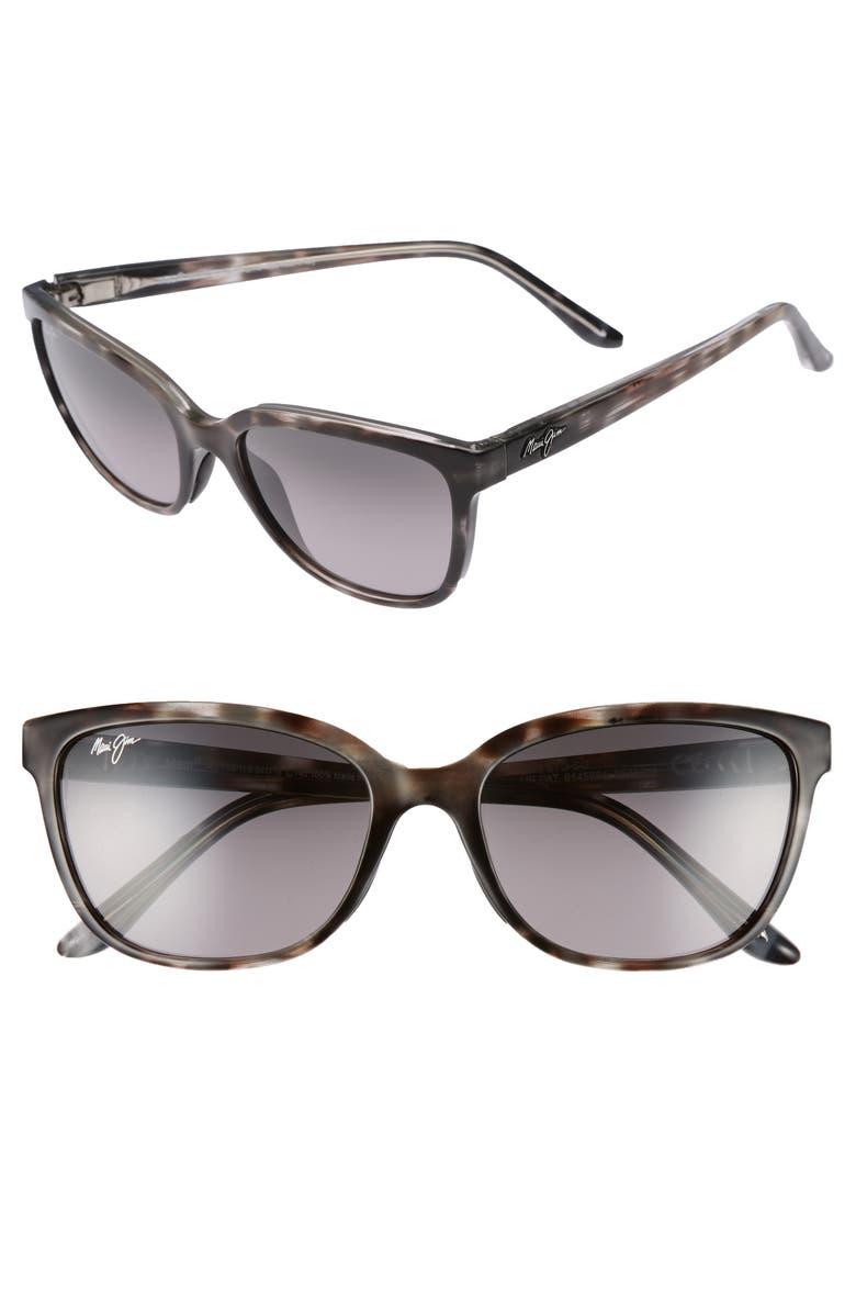 MAUI JIM Honi 54mm Polarized Cat Eye Sunglasses, Main, color, GREY TORTOISE STRIPE
