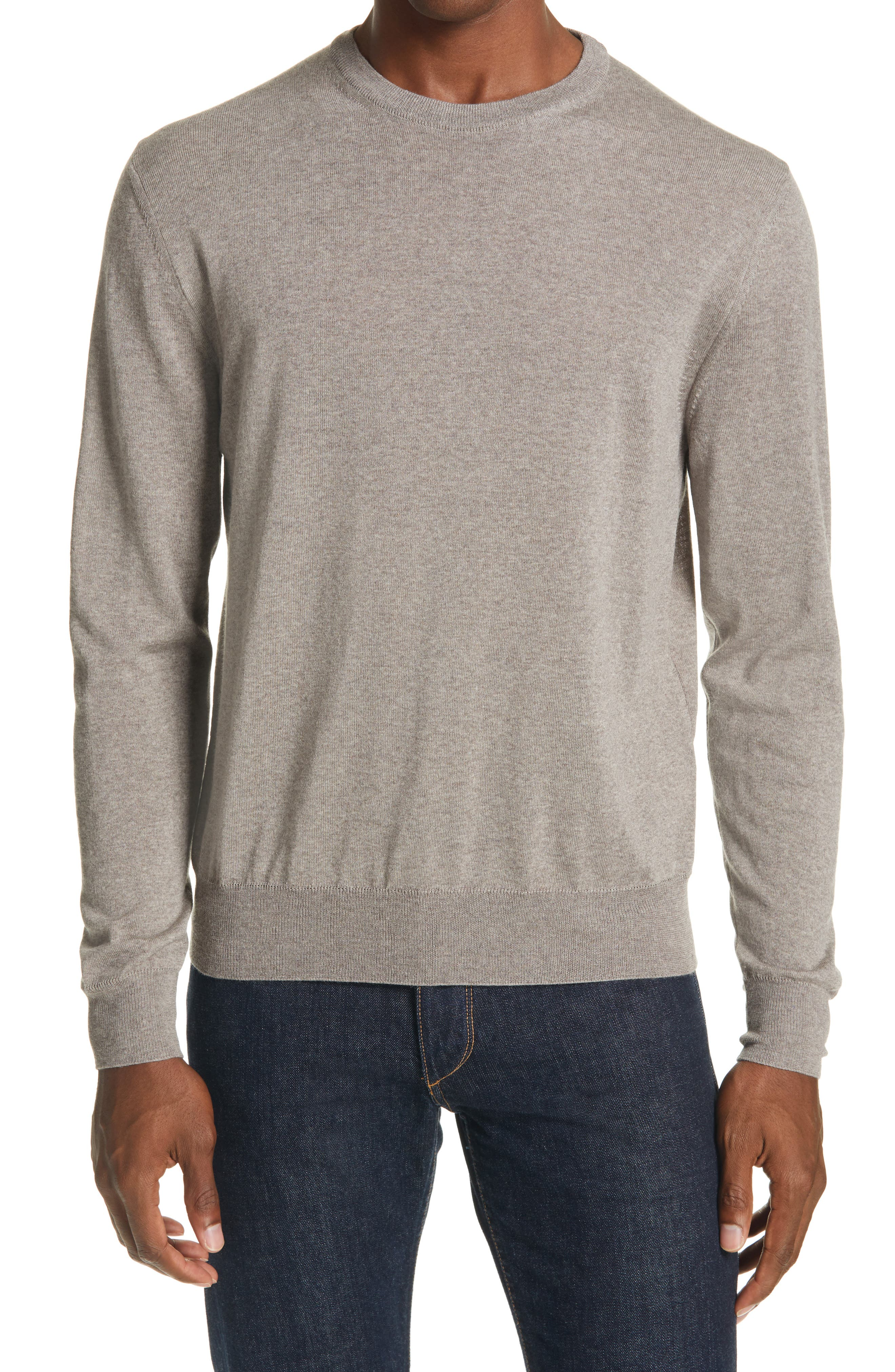 Soft, lightweight wool brings easy comfort to a sweater done in a heathered neutral with a fit that\\\'s perfect for layering and handsome all by itself. Style Name: Canali Crewneck Wool Sweater. Style Number: 6099137. Available in stores.