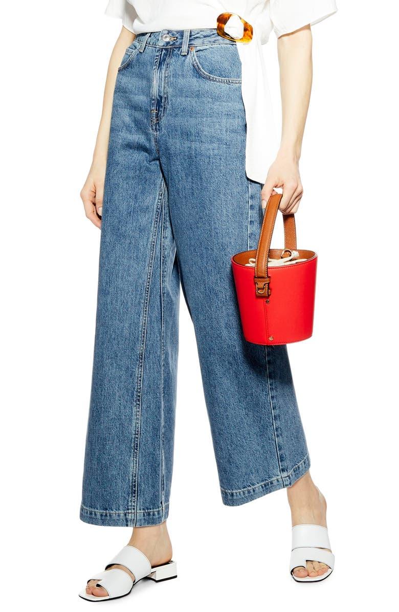 TOPSHOP High Waist Wide Leg Jeans, Main, color, 460
