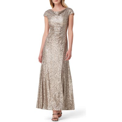 Tahari Sequin Embellished Cowl Neck Evening Gown, Beige