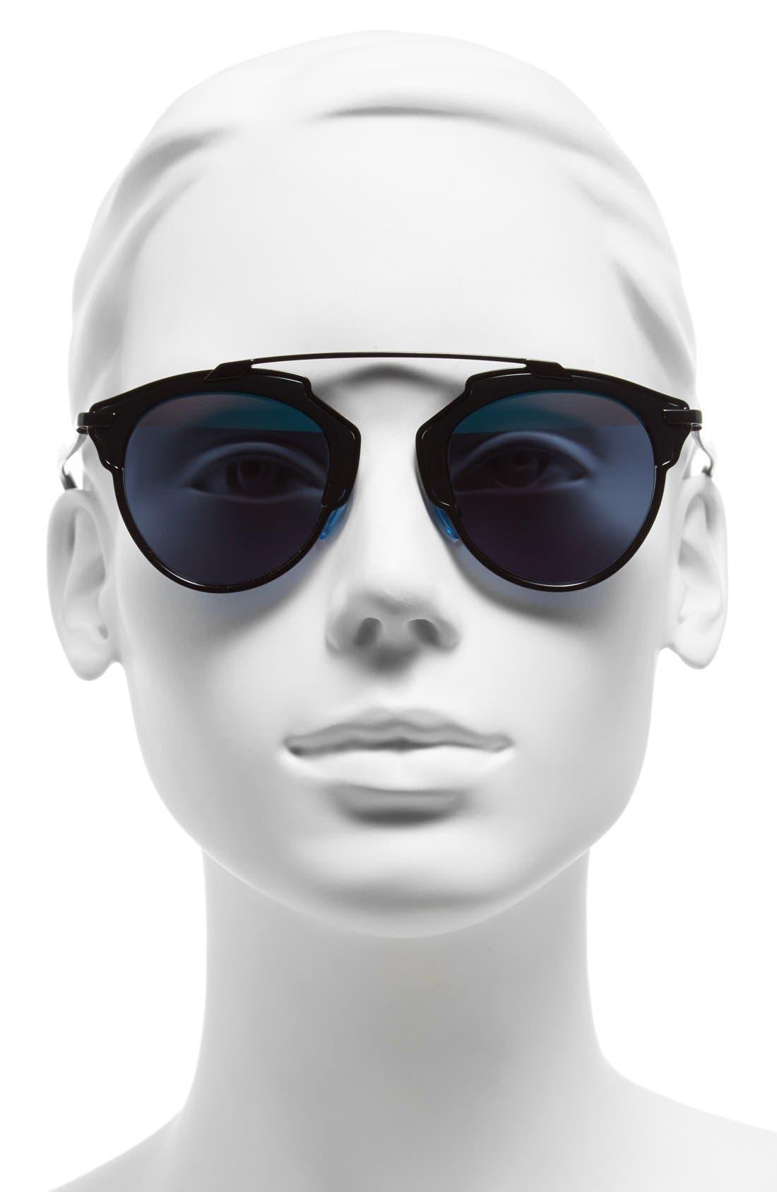 ,                             So Real 48mm Brow Bar Sunglasses,                             Alternate thumbnail 8, color,                             002