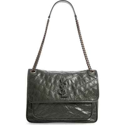 Saint Laurent Medium Niki Leather Shoulder Bag - Green