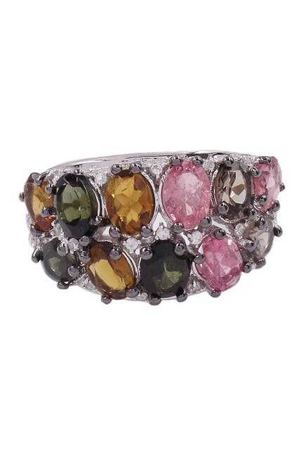 Image of Savvy Cie Rhodium Plated Multicolor Tourmaline Cluster Ring