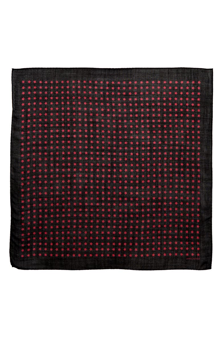 SAINT LAURENT Star Print Wool Scarf, Main, color, BLACK/ PINK