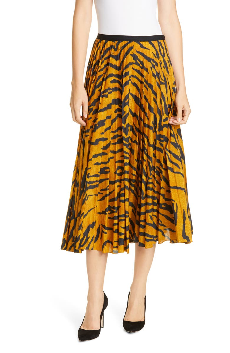 ADAM LIPPES Pleated Tiger Print Voile Midi Skirt, Main, color, TIGER