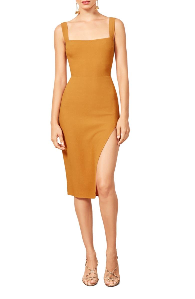 REFORMATION Christina Dress, Main, color, SUNFLOWER