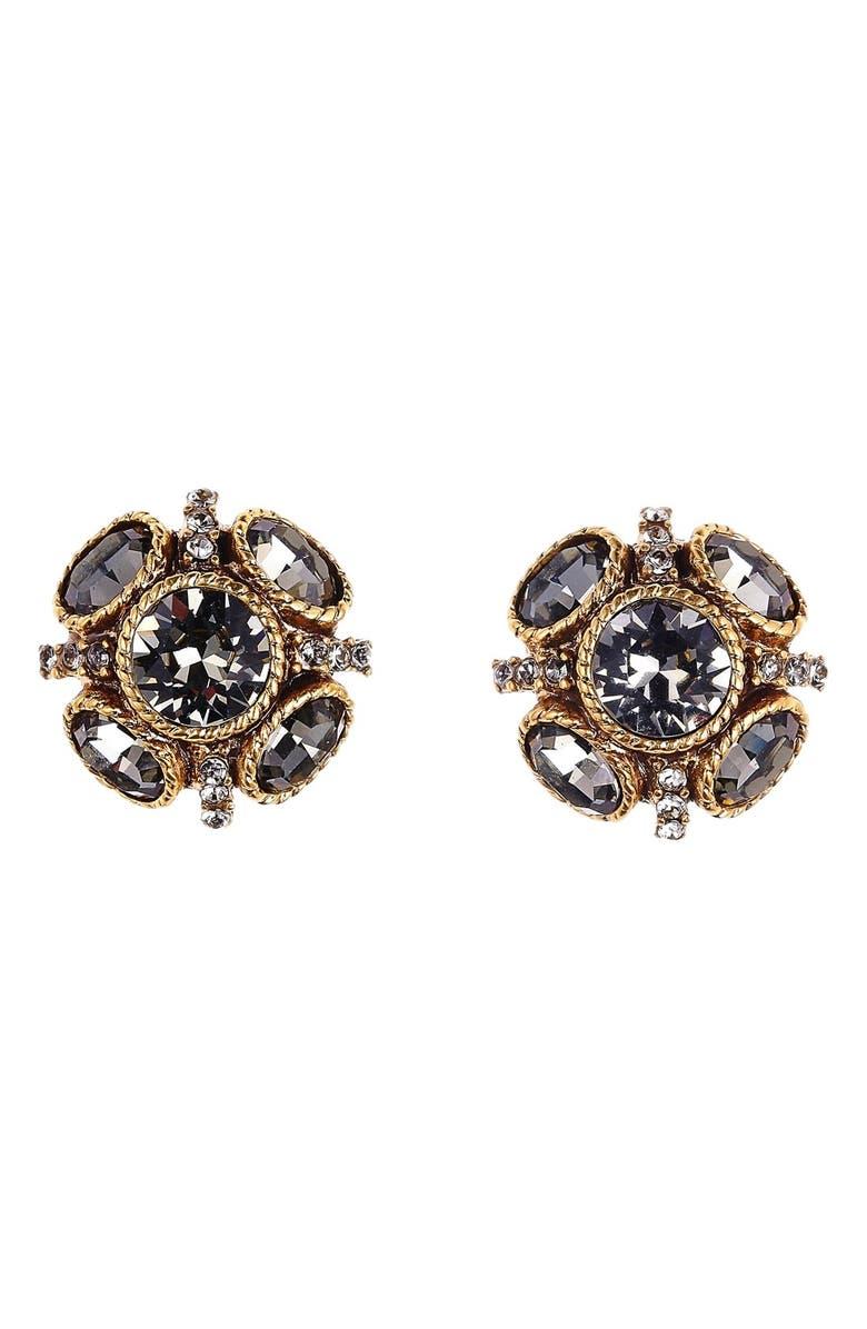 OSCAR DE LA RENTA Classic Button Stud Earrings, Main, color, BLACK