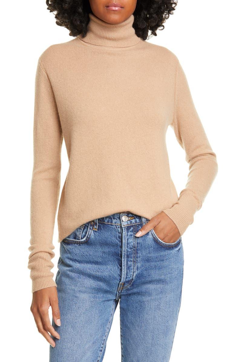EQUIPMENT Delafine Cashmere Turtleneck Sweater, Main, color, CAMEL