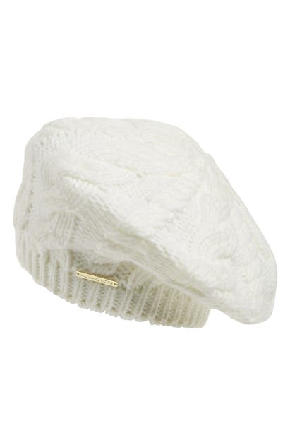 Michael Michael Kors Cable Knit Beret In Cream