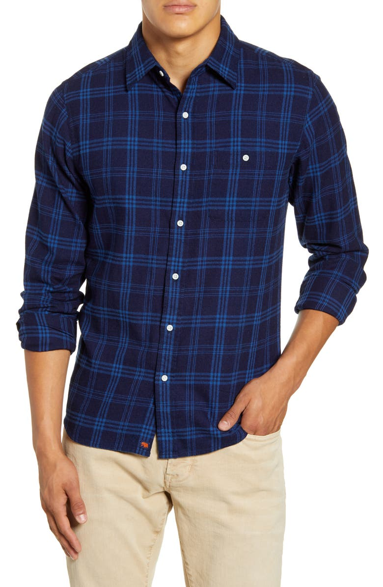 THE NORMAL BRAND Regular Fit Plaid Flannel Button-Up Shirt, Main, color, NAVY