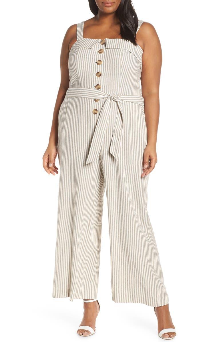 VINCE CAMUTO Stripe Tie Front Linen Blend Jumpsuit, Main, color, 137