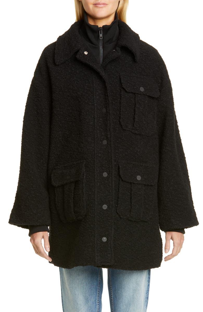 GANNI Short Bouclé Coat, Main, color, BLACK