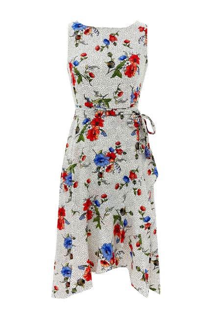 Image of Sandra Darren Sleeveless Bubble Crepe Belted Hanky Hem Midi Dress