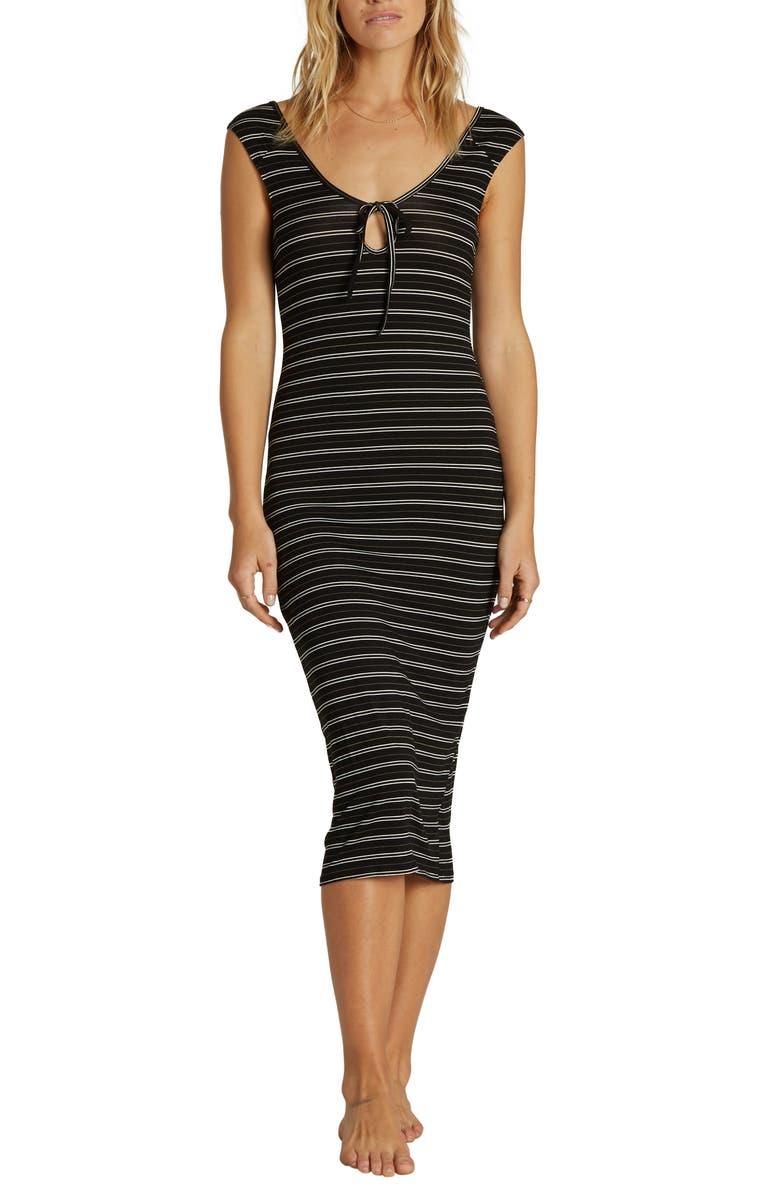 BILLABONG Share Alike Stripe Midi Dress, Main, color, 001