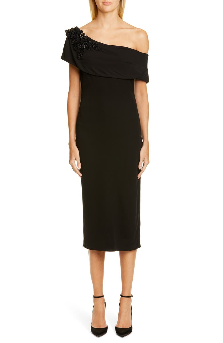 BADGLEY MISCHKA COLLECTION Off the Shoulder Cocktail Dress, Main, color, BLACK