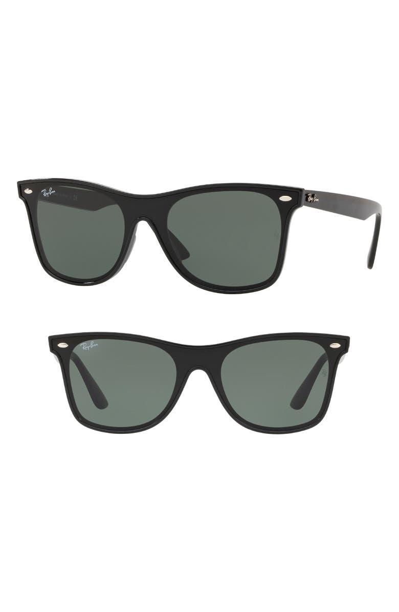 RAY-BAN Blaze 41mm Wayfarer Sunglasses, Main, color, BLACK SOLID