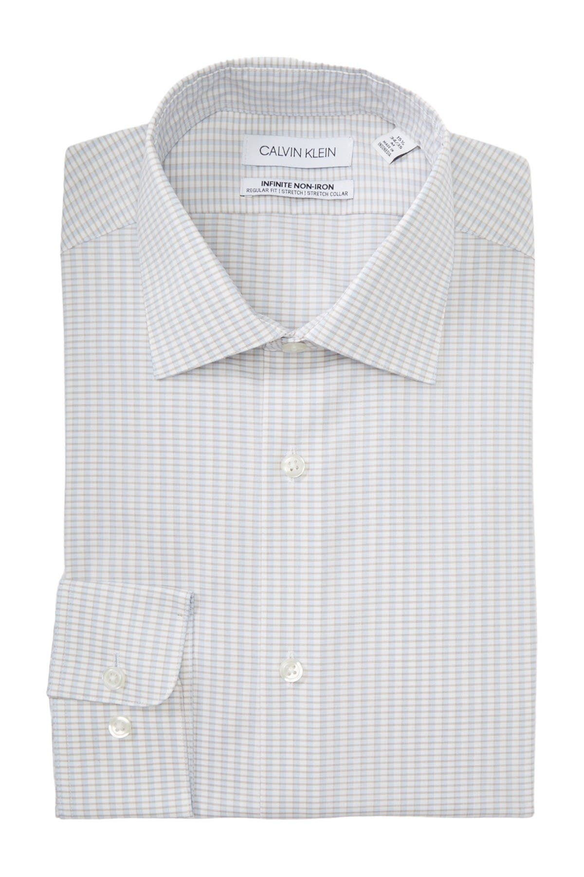 Image of Calvin Klein Grid Print Slim Fit Dress Shirt