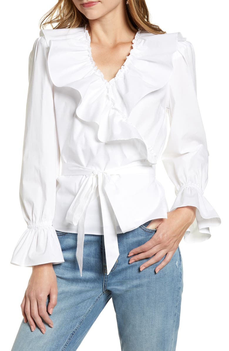 RACHEL PARCELL Ruffle Wrap Top, Main, color, 100
