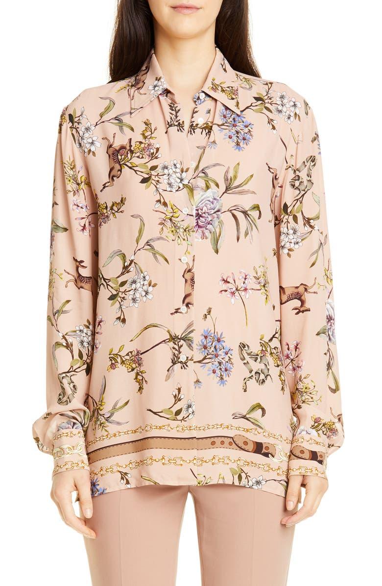 SEVENTY Floral Printed Blouse, Main, color, BEIGE