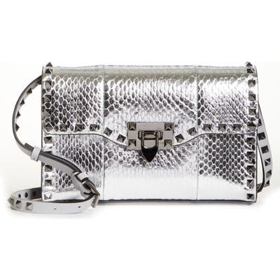 Valentino Garavani Rockstud Genuine Snakeskin Shoulder Bag - Metallic (Nordstrom Exclusive)