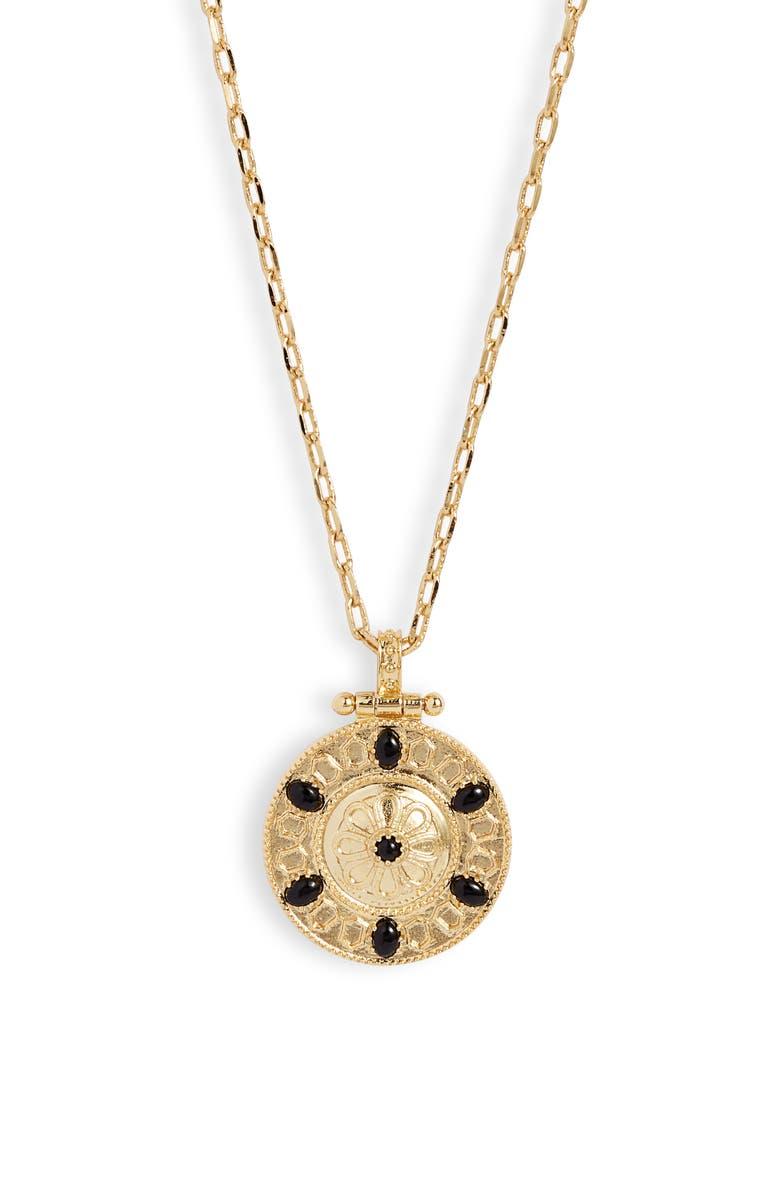 GORJANA Alessandra Coin Pendant Necklace, Main, color, GOLD