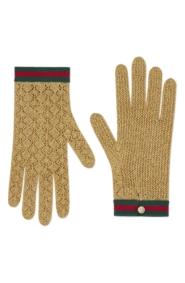 GUCCI Metallic Knit Gloves, Main, color, ORO/ CRYSTAL