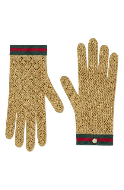 Gucci Metallic Knit Gloves In Oro/ Crystal