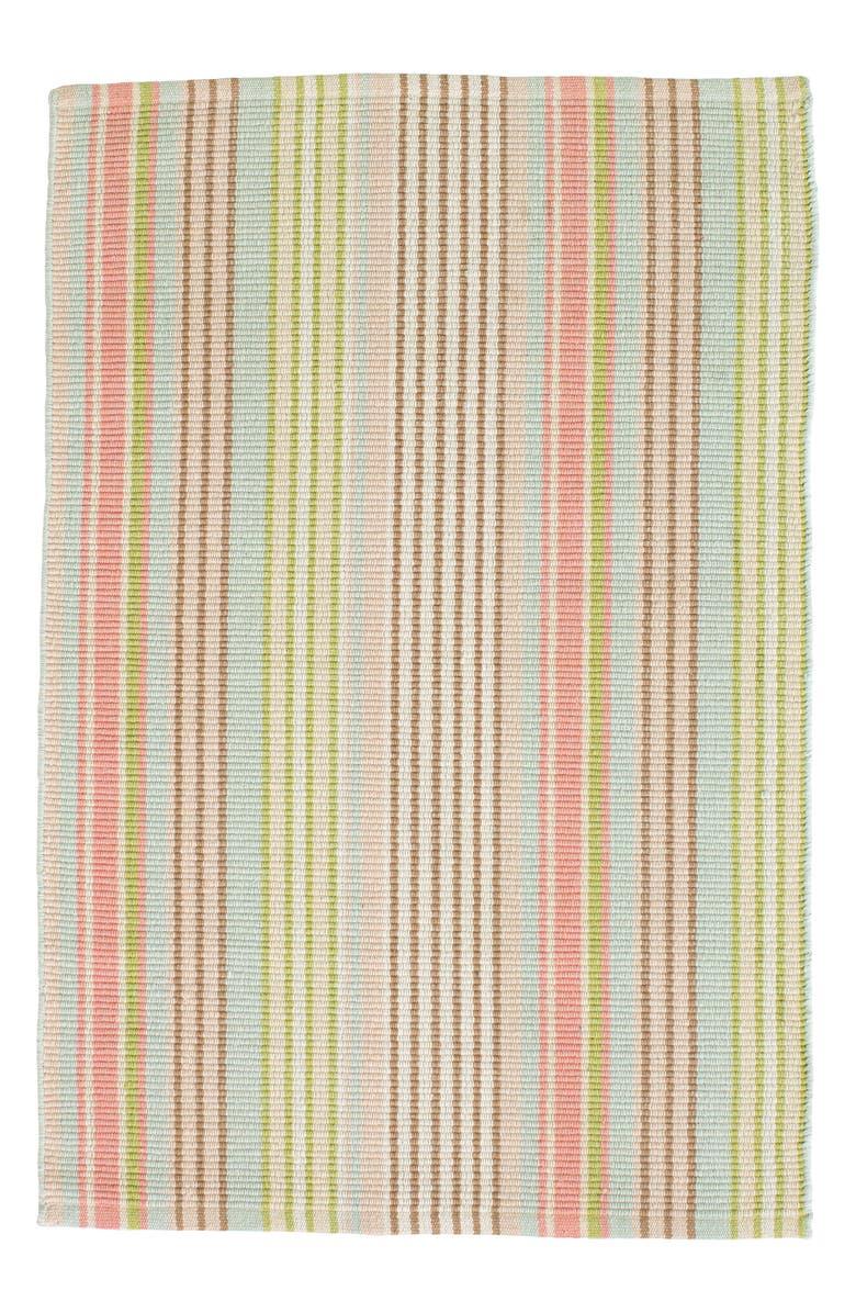 DASH & ALBERT Ana Ticking Woven Rug, Main, color, AQUA