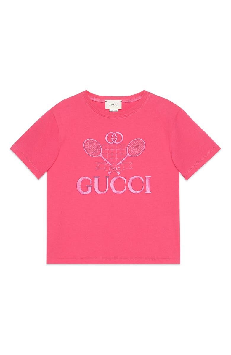 GUCCI Embroidered Logo Graphic Tee, Main, color, BRIGHT FUCHSIA