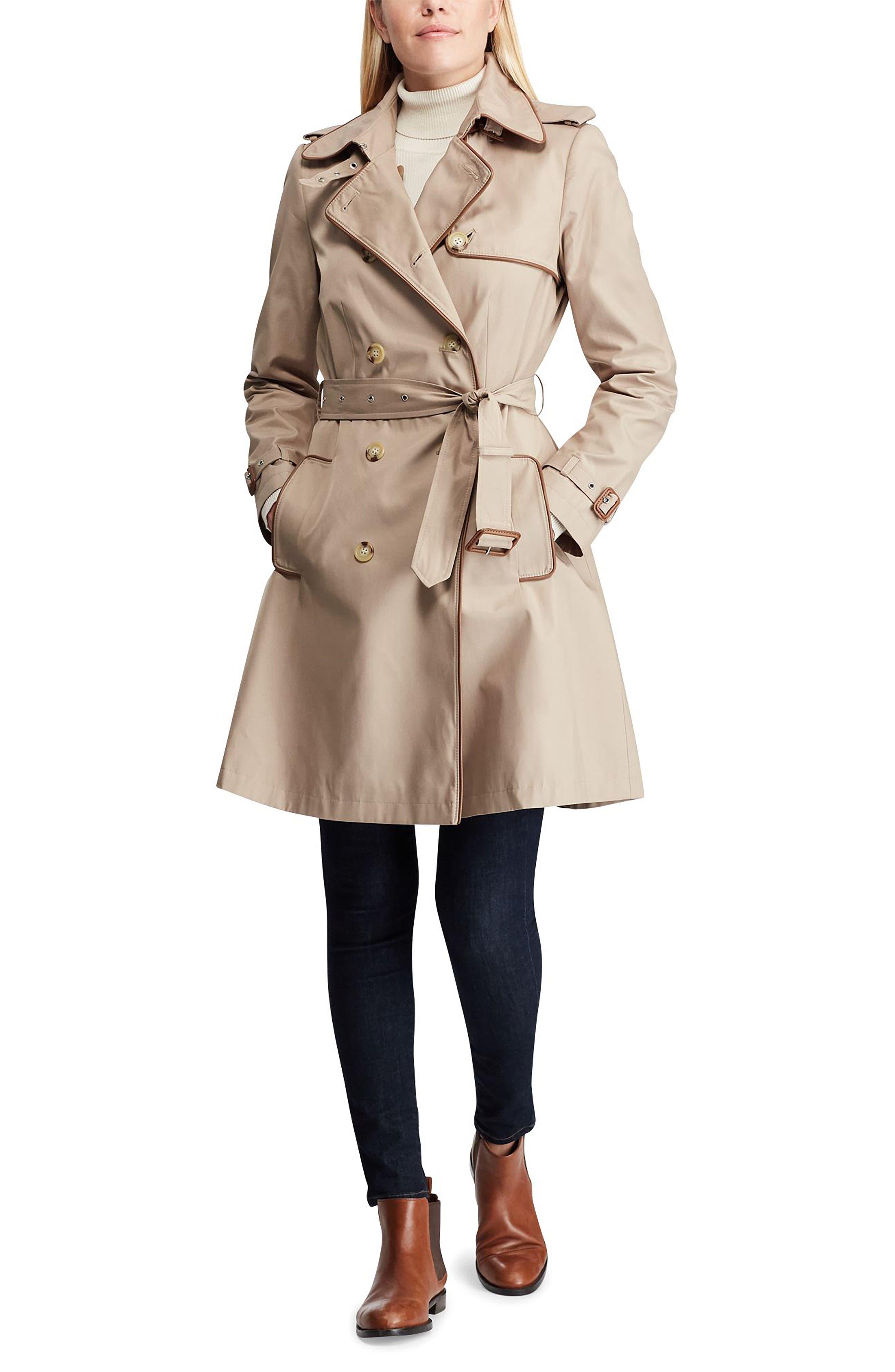 ,                             Faux Leather Trim Trench Coat,                             Alternate thumbnail 10, color,                             275