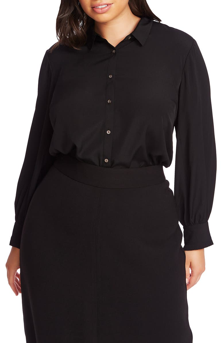 COURT & ROWE Ruffle Cuff Blouse, Main, color, RICH BLACK