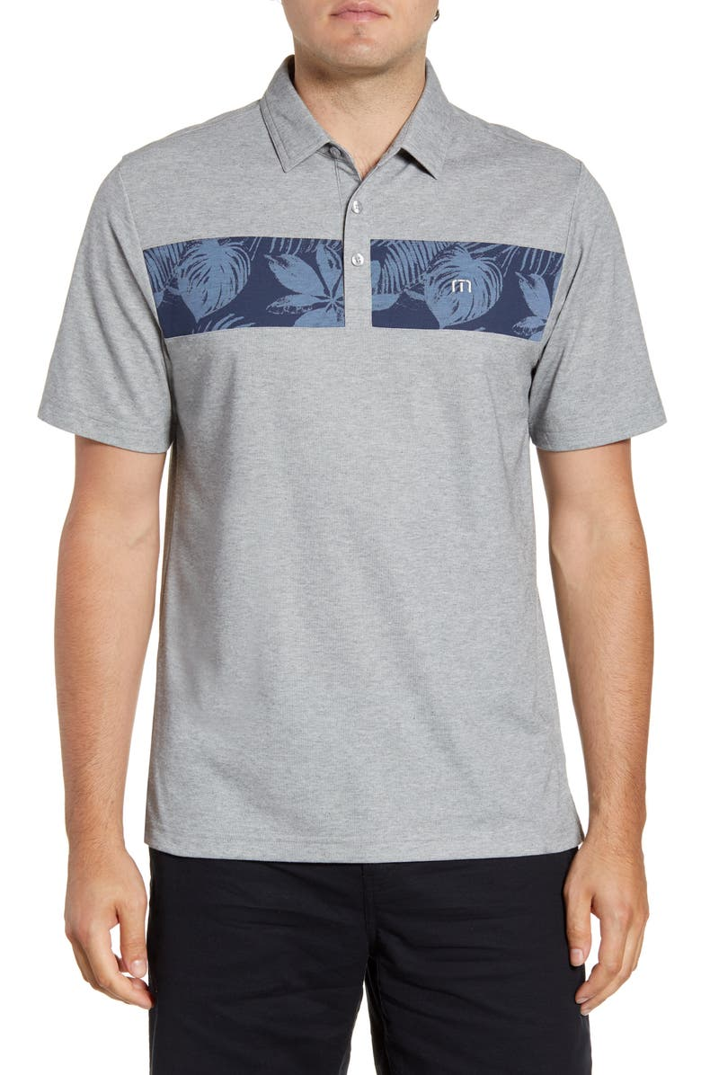 TRAVISMATHEW Everything is Kewl Floral Piqué Performance Polo, Main, color, HEATHER GREY