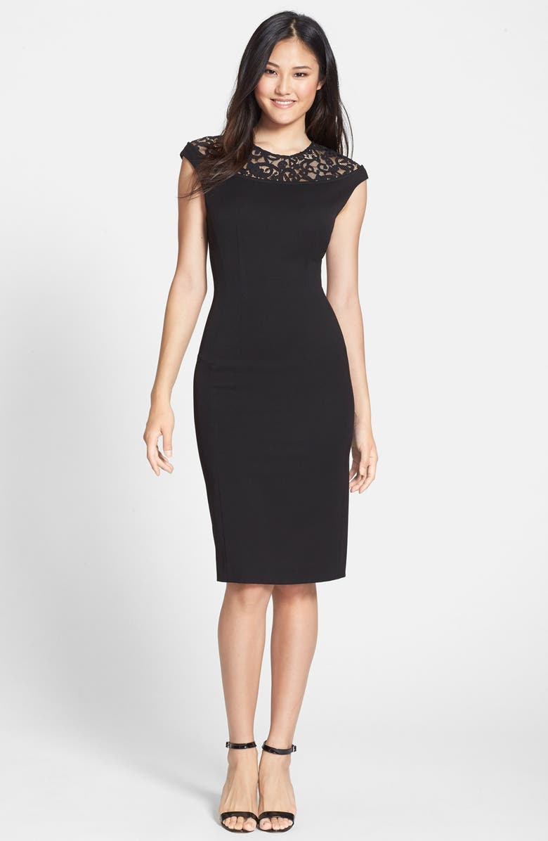 CYNTHIA STEFFE 'Linsey' Lace Yoke Body-Con Dress, Main, color, 001