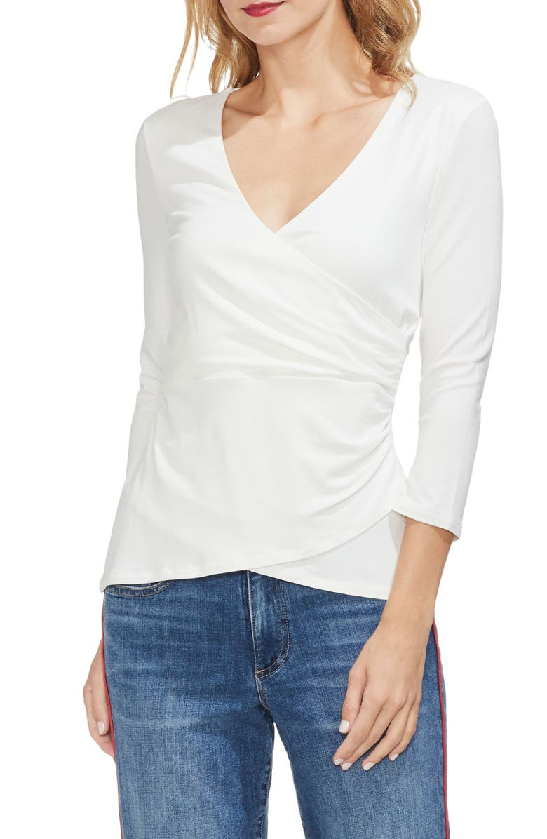 VINCE CAMUTO Wrap Front Top, Main, color, PEARL IVORY