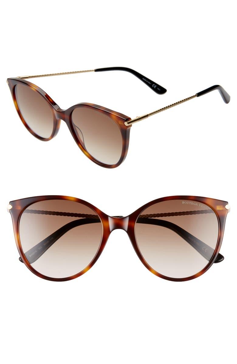 BOTTEGA VENETA 54mm Round Cat Eye Sunglasses, Main, color, MEDIUM HAVANA/ BROWN