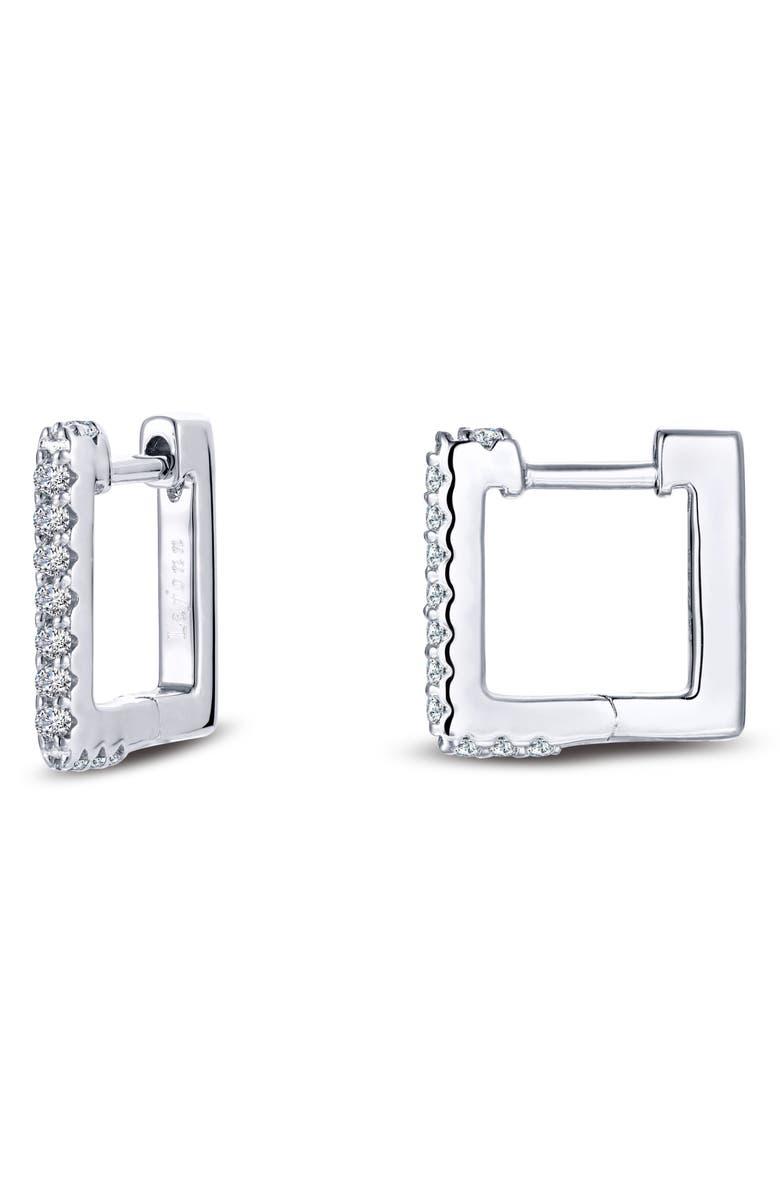 LAFONN Simulated Diamond Square Hoop Earrings, Main, color, 040
