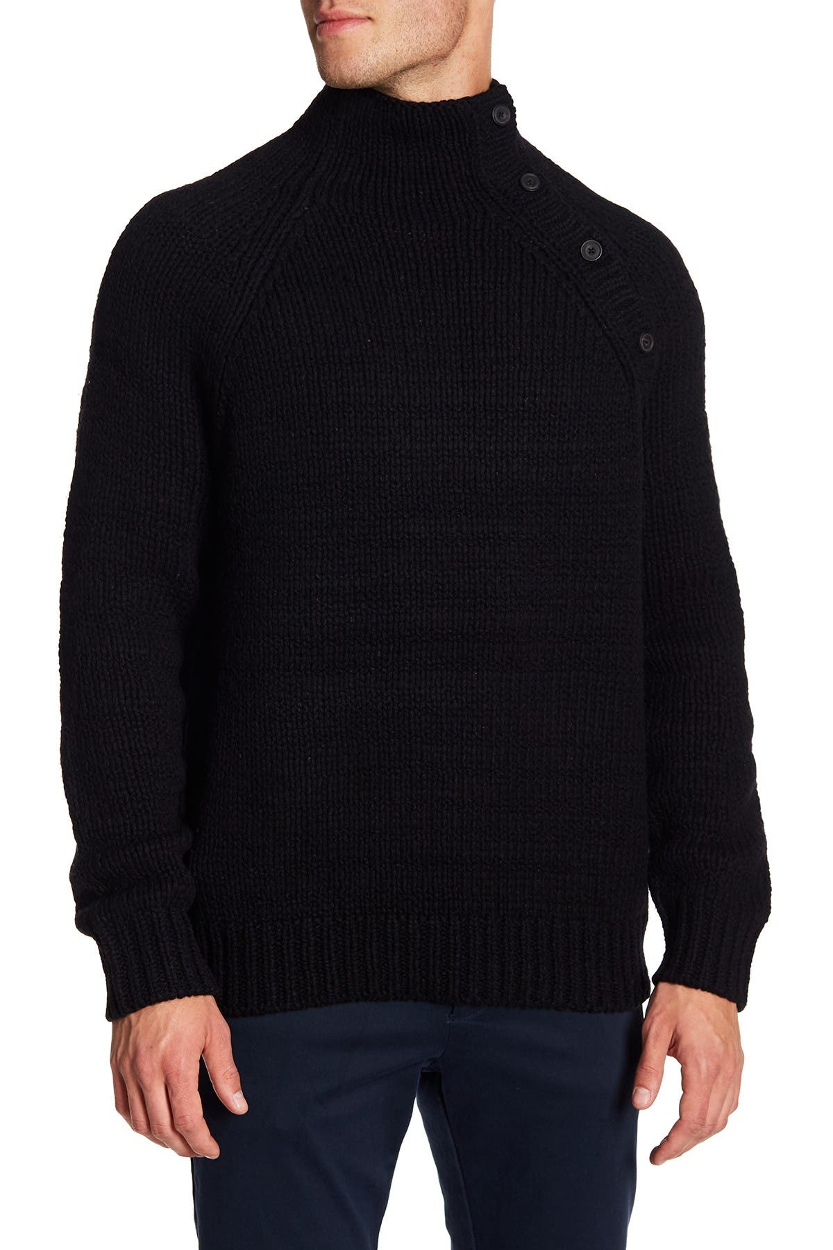 Image of Vince Button Neck Wool Blend Knit Sweater