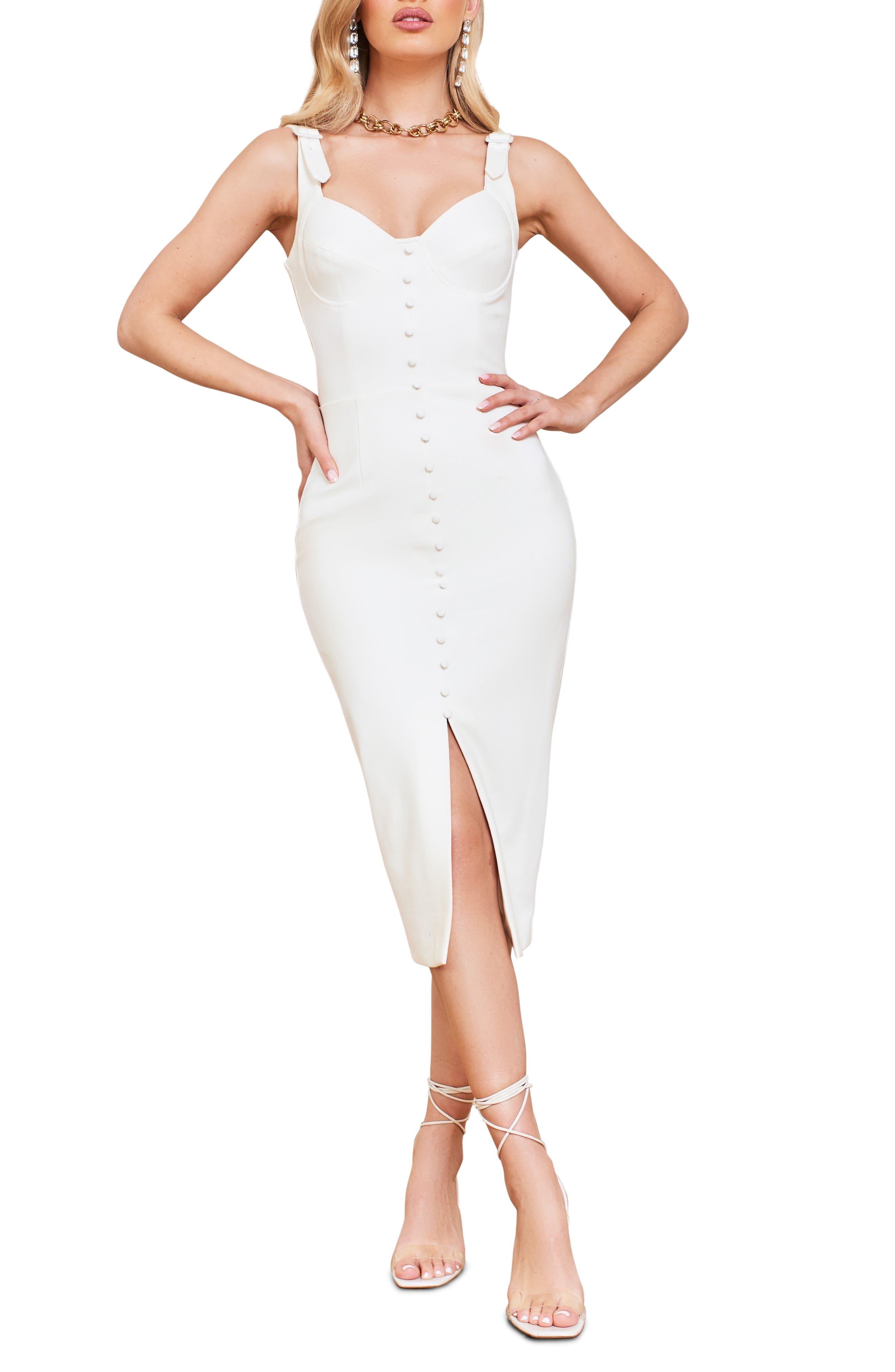 Buckle Strap Underwire Midi Dress
