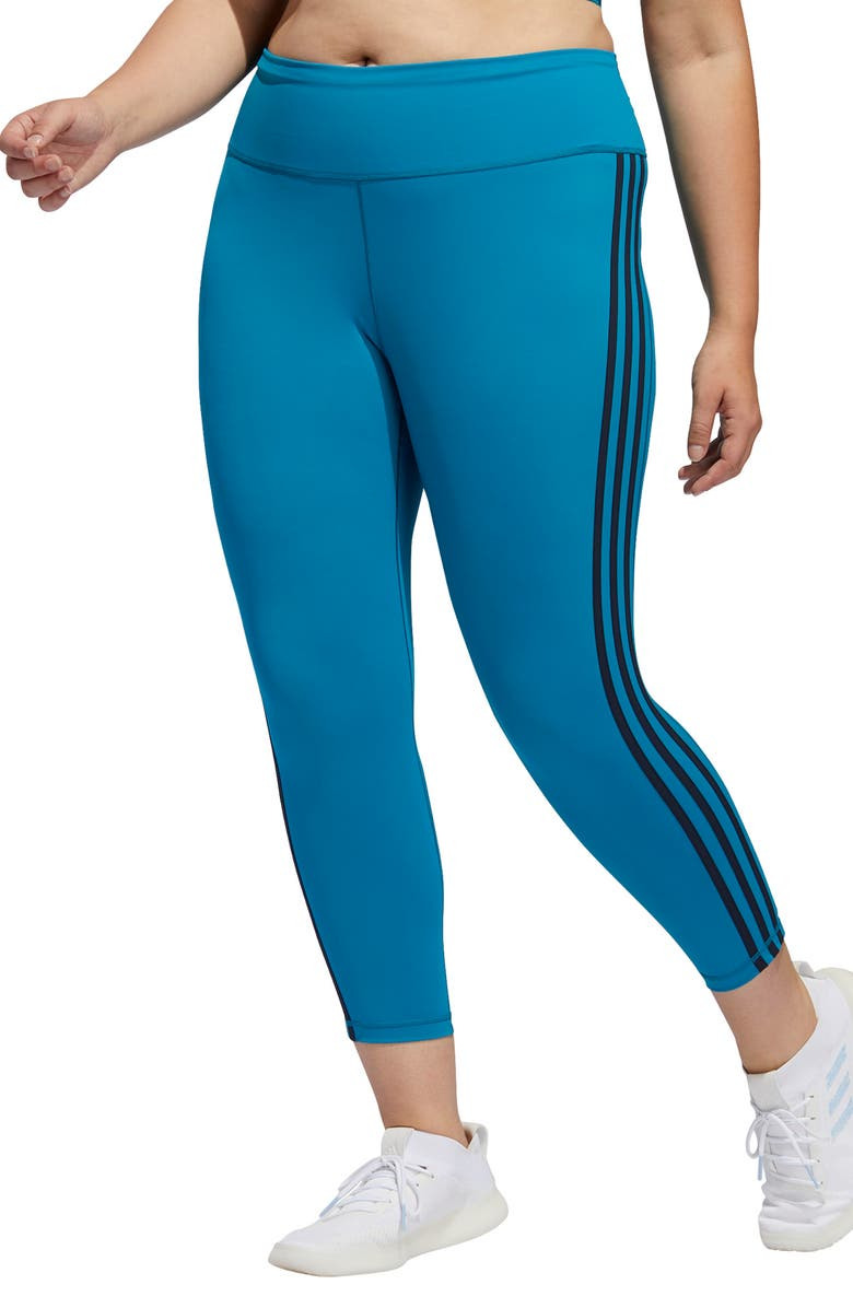 ADIDAS 3-Stripes 7/8 Tights, Main, color, ACTIVE TEAL/ LEGEND INK