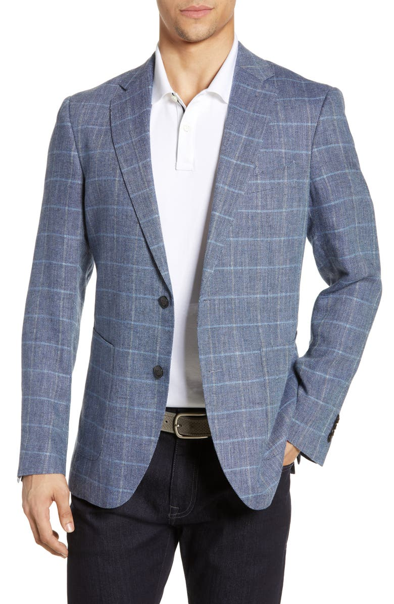 RODD & GUNN Ironside Regular Fit Plaid Sport Coat, Main, color, DENIM