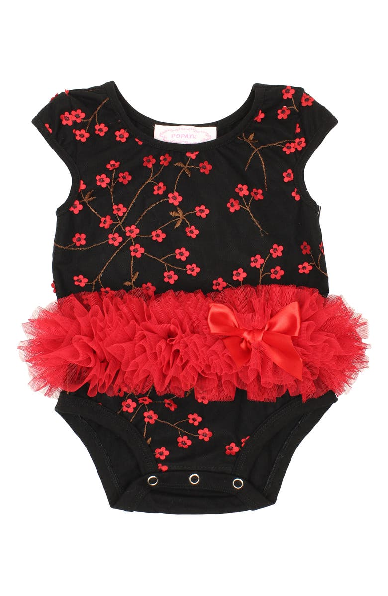 POPATU Embroidered Tutu Bodysuit, Main, color, BLACK