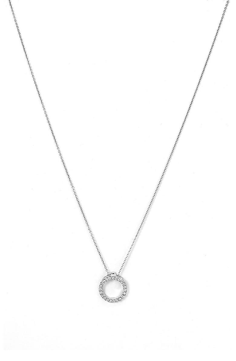 ROBERTO COIN 'Tiny Treasures' Small Diamond Circle Pendant Necklace, Main, color, WHITE GOLD