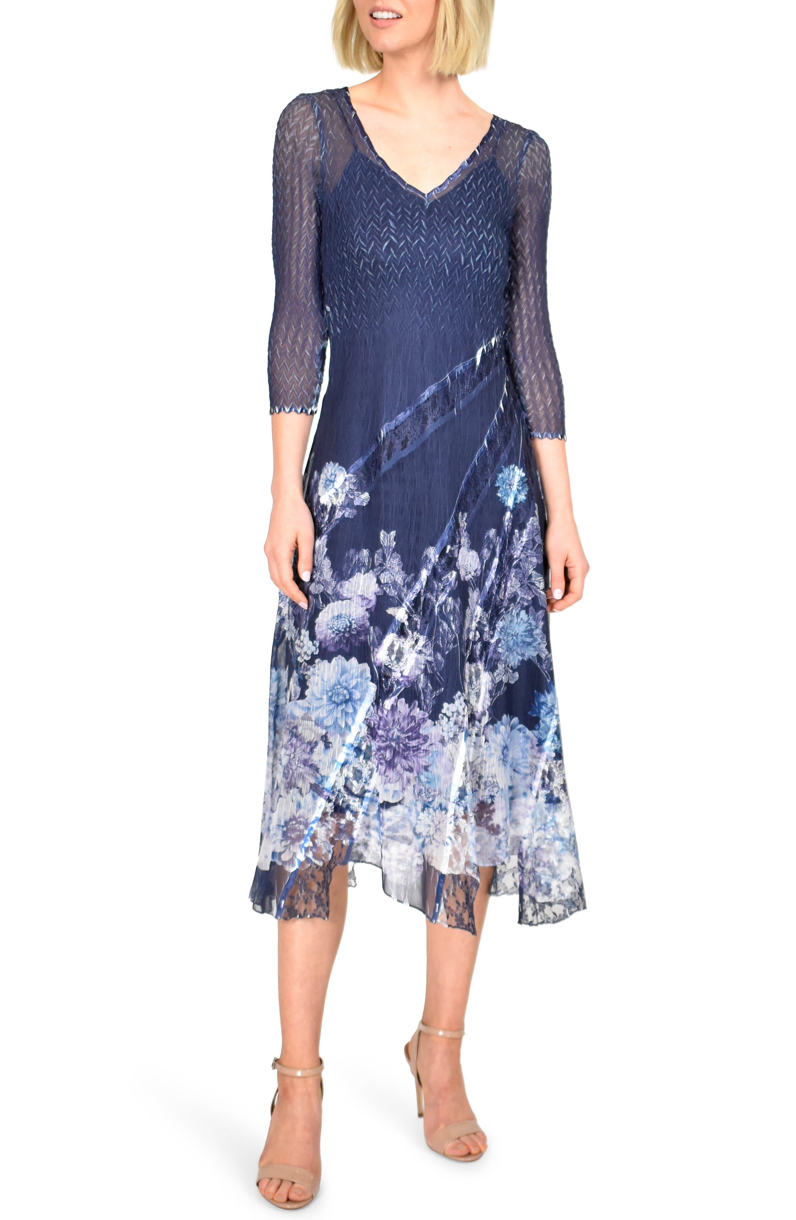 Petite Komarov Chiffon & Lace A-Line Dress, Blue