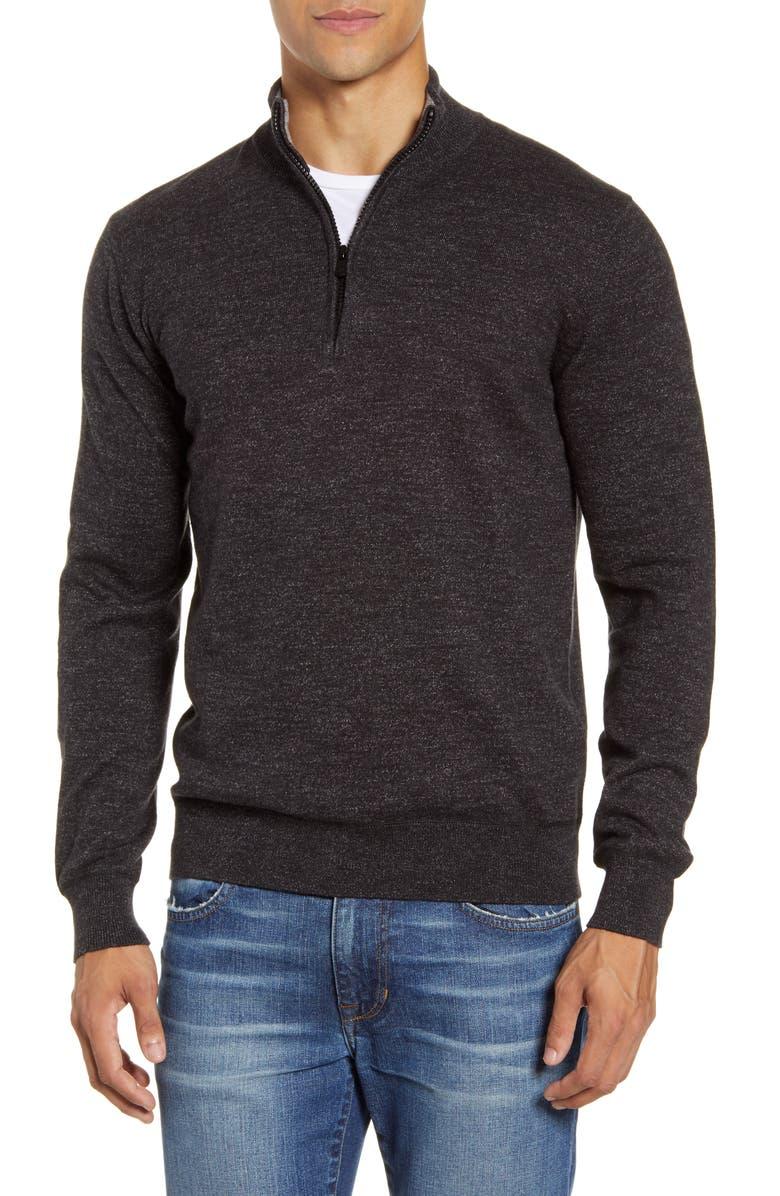FAHERTY Sconset Half Zip Sweater, Main, color, BLACK HEATHER